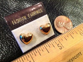 "earrings posts, gold ton, cute little tiny hearts 3/8"" - $8.07"