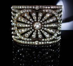 300 Rhinestone Cuff bracelet Art deco design Vintage Art deco Bracelet 10 Row  - $175.00
