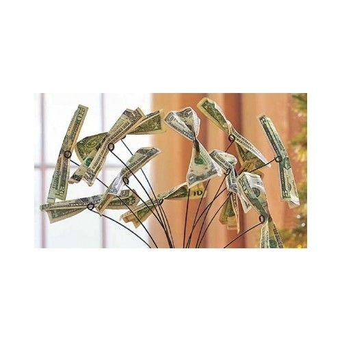 Metal Money Tree Gift Card Holder Party Conversation Piece Table Centerpiece