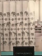 Cynthia Rowley NY HENNA ELEPHANTS Fabric SHOWER CURTAIN White Gray Triba... - $27.71