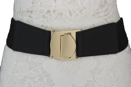 Women Fashion Belt Red Gold Black Beige Coral Green Elastic Buckle Size ... - $17.99
