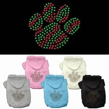 CHRISTMAS PAW Dog Hoodie Sweatshirt * Rhinestone Puppy Pet Print Sweater... - €14,05 EUR+