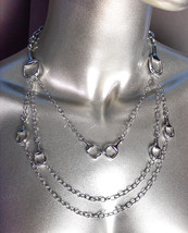 CHIC & FABULOUS Designer 3 Strands Silver Horsebit Links Chains Layered ... - €31,50 EUR