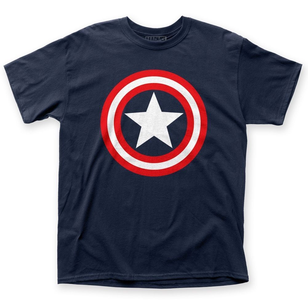 Official Licensed Marvel Comics Captain America Star Shield Logo T-shirt S-3XL