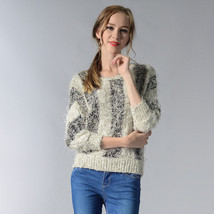Hot Women's Clothing Sweaters stripe Bat Sleeve Mosaic Contrast Color ro... - $304,04 MXN