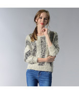 Hot Women's Clothing Sweaters stripe Bat Sleeve Mosaic Contrast Color ro... - $296,33 MXN