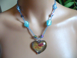 Handmade Glass Work Necklace. Heart with Blue & Aqua Glass Beads - $15.00