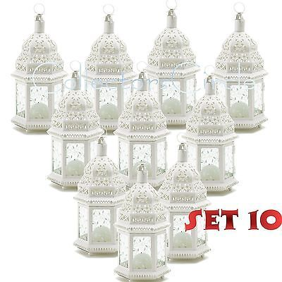 Lot of 10 White Moroccan Candle Lantern Chic Wedding Party Centerpieces