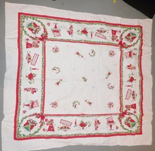 Vintage Christmas Linens Tablecloth 48 x 52 Cot... - $69.63