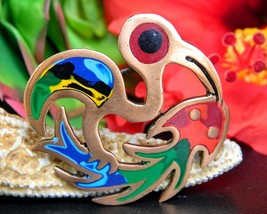 Vintage Bird Catching Fish Brooch Pin Colorful Enamel Copper Abstract - $22.95