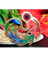 Vintage Bird Catching Fish Brooch Pin Colorful ... - $29.95