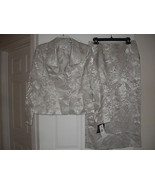 Le Suit New Champagne Jacquard Ruffled Collar 3-Button Jacket 2PC Skirt ... - $54.44