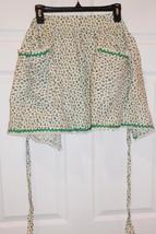 Vintage Christmas  1/2 Apron Cotton Small Print Holly Berries Rick Rack ... - $23.35