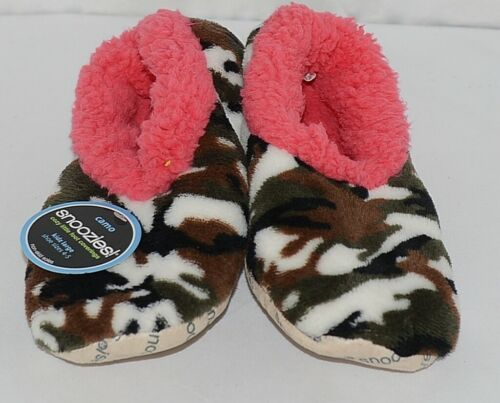 Snoozies Brand KCM005 Dark Pink Camouflage Girls House Slippers Size L