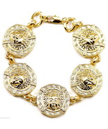 Medusa Bracelet New Five Pendants And 10mm Thick Chain Links 8 7/8 Inche... - $21.38
