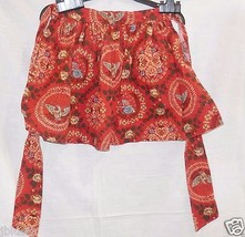 Vintage Apron, Americana, Heavy cotton, Rusty Orange background, Hostess... - $13.79