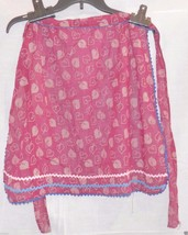 Vintage Apron, Half Hostess, Sheer Dk Cranberry, Leaves, Rick Rack, Retro - $13.79