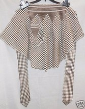Vintage Apron, Brown White Gingham, Smocked, Cafe style, Detailed Work! ... - $13.79