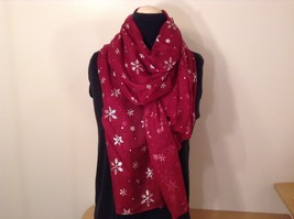 Metallic snowflake overlay print holiday winter scarf in choice of colors