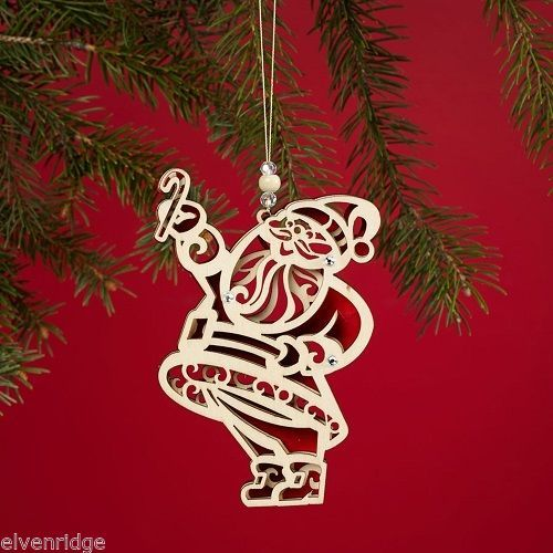 Laser Wood Ornament Flourish  Santa Claus