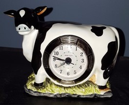 A Day in the Country Ceramic Black & White Cow Desk Shelf Table Clock Ba... - $5.14