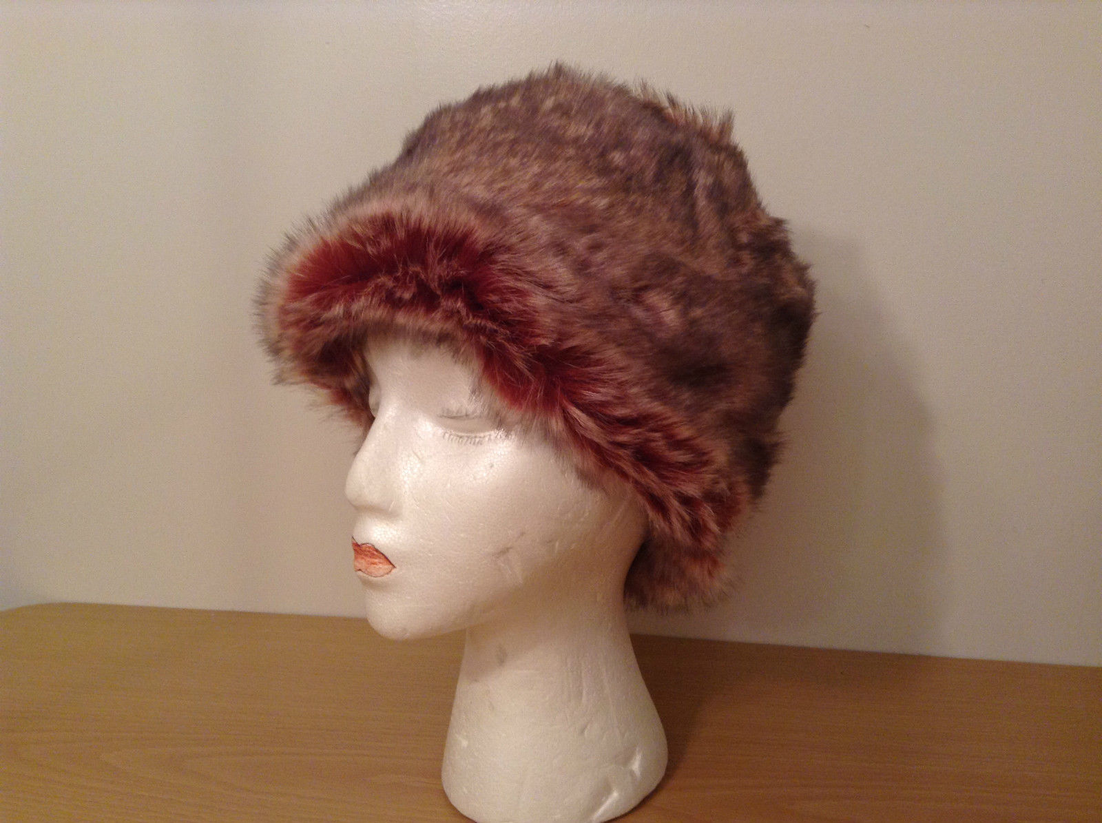 Russian Style Red Faux Fur Hat Fully Fleece Lined One Size Fits All New with Tag