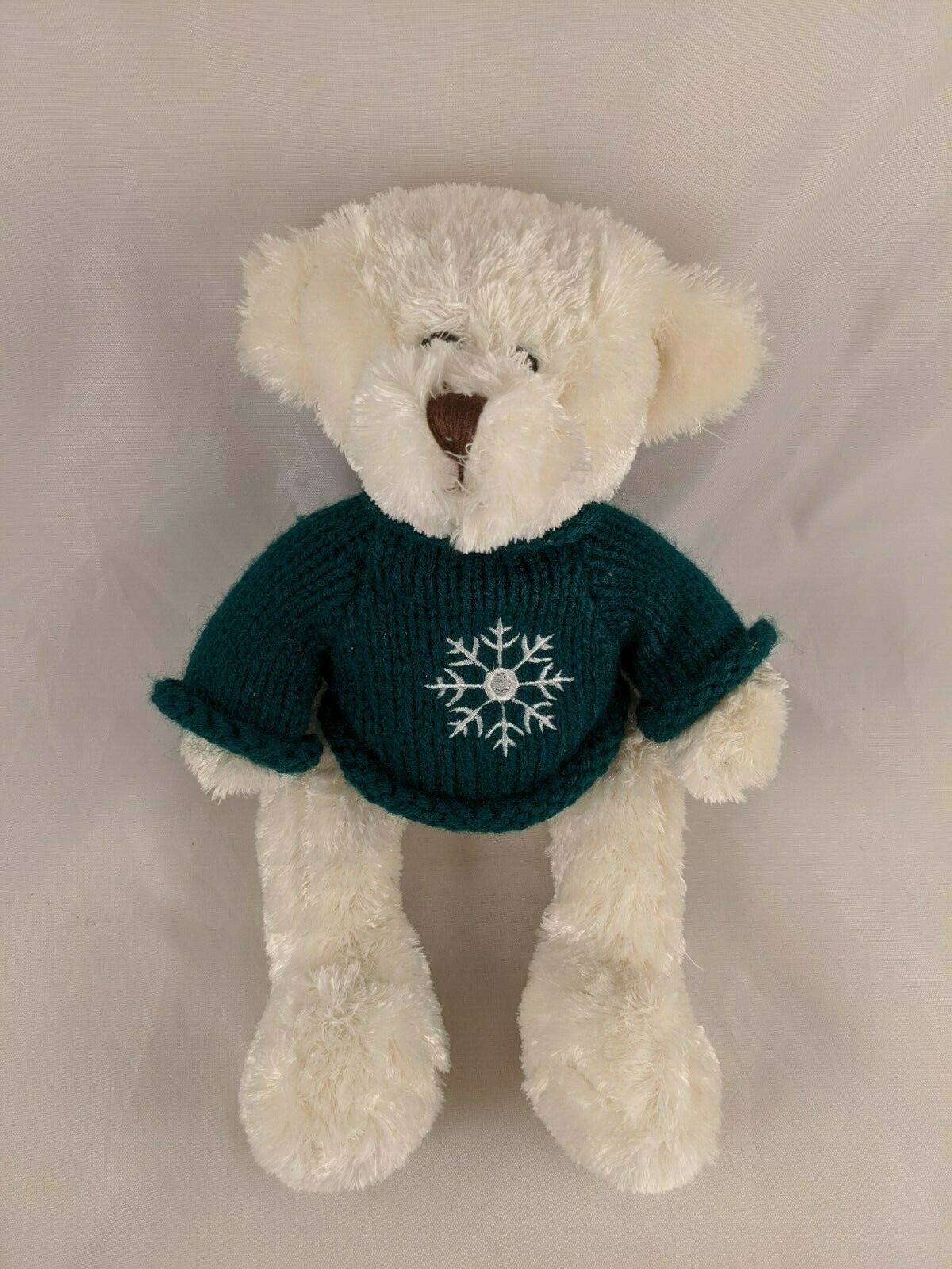 "Primary image for Animal Adventure White Bear Plush Green Knit Sweater 11"" 2010 Stuffed Animal"