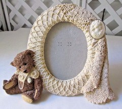Vintage Teddy Bear Resin Picture Frame w Victorian Pearls Lace Cameo 199... - $25.00