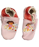 Dora The Explorer Leather Slippers Footlets Pink Nick Jr Sz 7-8 Planet Sox - $12.73