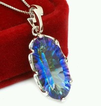 11ct blue rainbow GENUINE topaz set in 925 sterling silver with 925 SS c... - $29.99