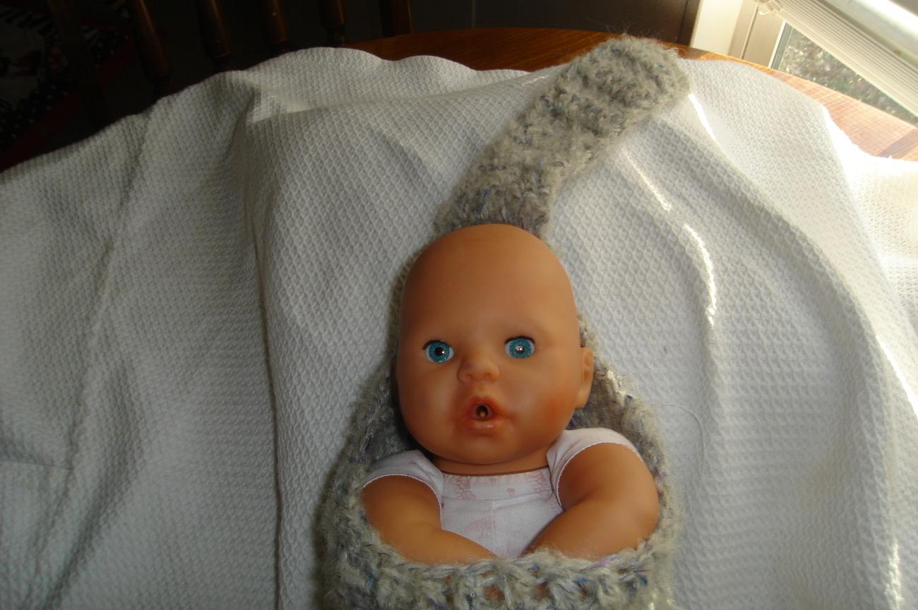 (77)Hand crocheted baby stork sack photo prop