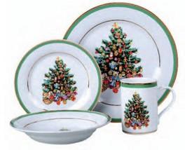 Christmas Morning Tree Gathering  16 Piece Porcelain China Dinnerware Set  - $399.99