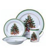 Christmas Morning Tree Gathering  16 Piece Porcelain China Dinnerware Set  - $399.99