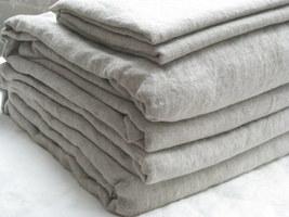 Pure Flax Linen 4 PC Bedding Set, Queen Size, Natural Linen Color - $176.00