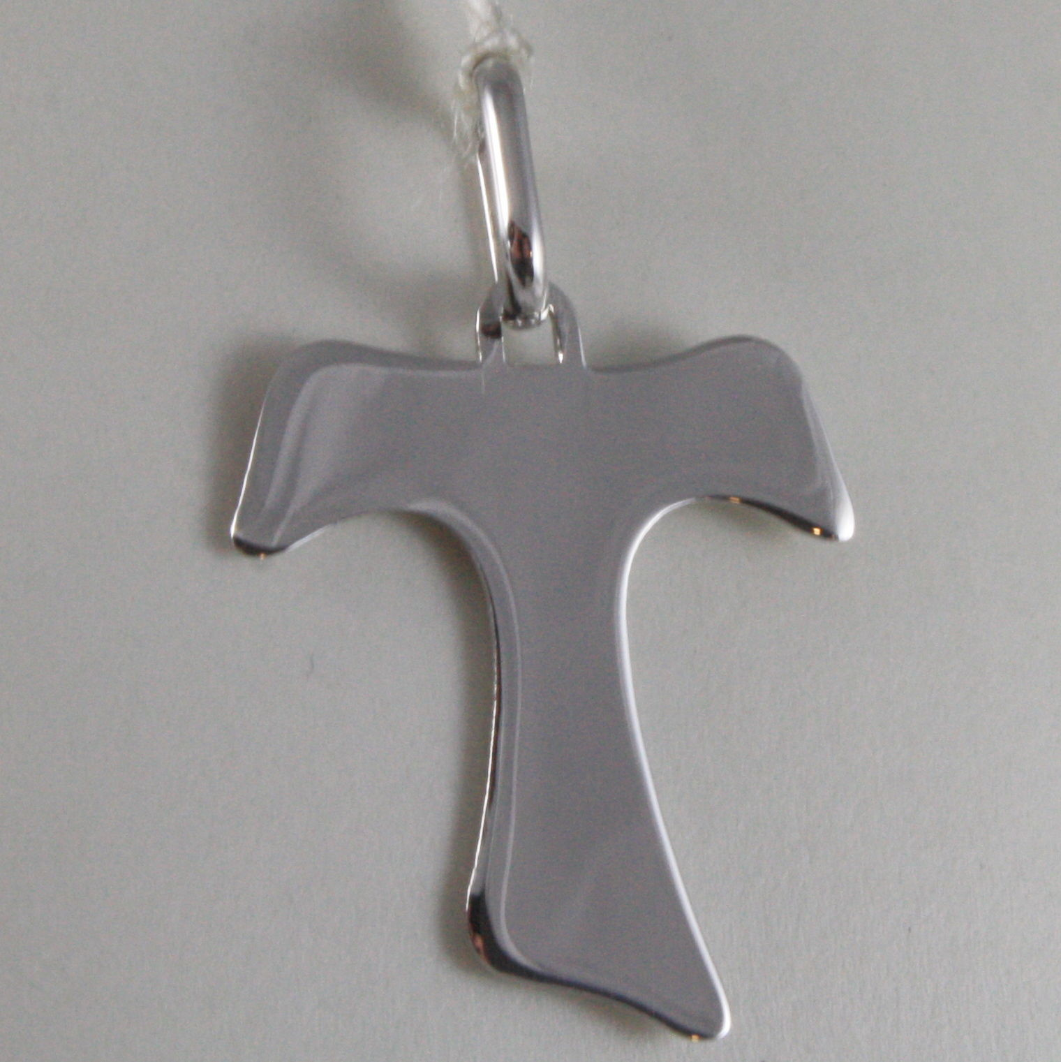 SOLID 9K WHITE GOLD SAINT FRANCI CROSS, TAU, MADE IN ITALY, ENGRAVABLE
