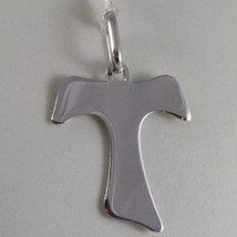 Solid 9K White Gold Saint Franci Cross, Tau, Made In Italy, Engravable - $46.55