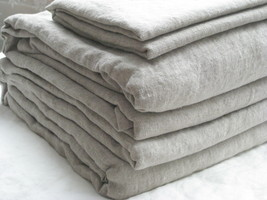 Pure Flax Linen 4 PC Bedding Set, King Size, Natural Linen Color - $192.00