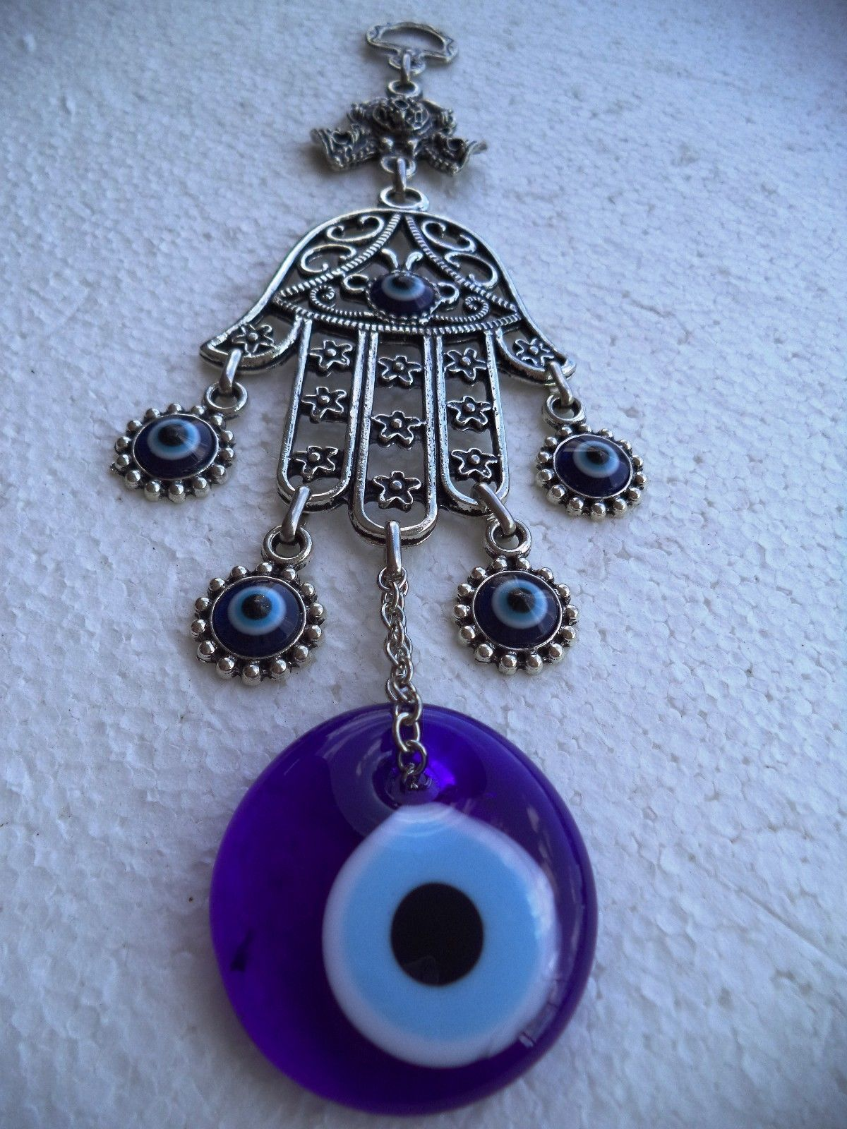 Hamsa Hand Fatima's Hand Wall hanging Amulet Turkish silver plated Evil Eye 21cm