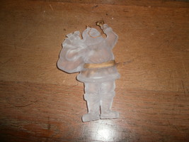 Frosted Plastic Santa Ornament With Gold Trim - $2.00