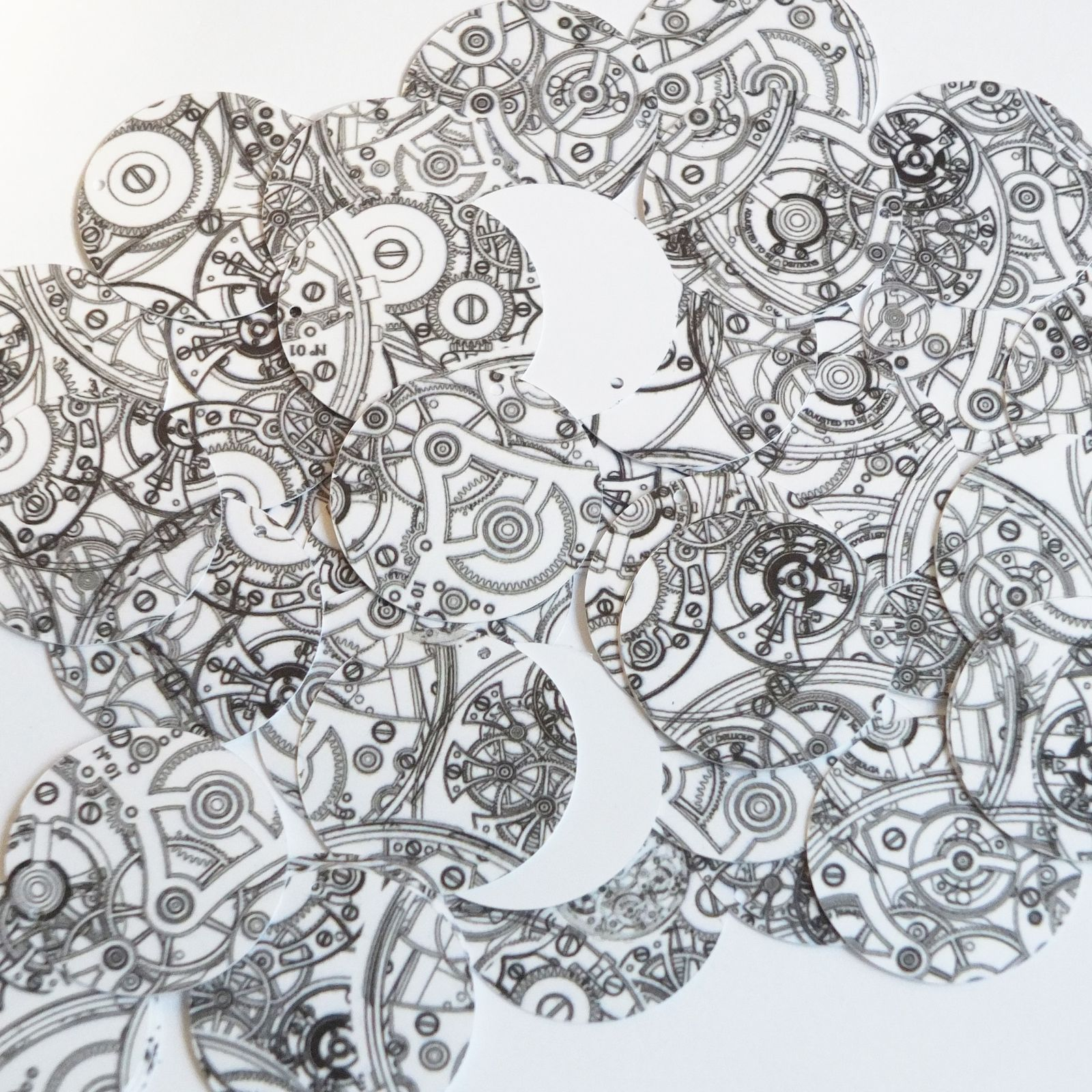 Primary image for Round Sequin 30mm Steampunk Clockworks on White Opaque Loose Couture Paillettes