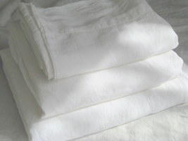Pure Flax Linen 4 PC Bedding Set, Queen Size, White Color with Hemstitch Details - $192.00