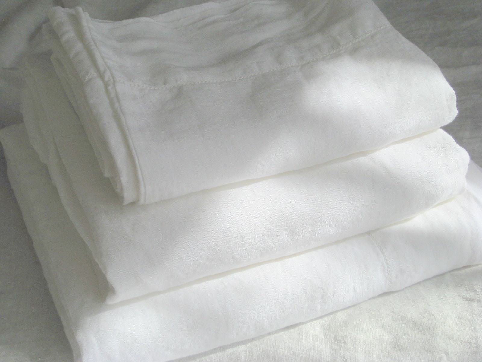 Pure Flax Linen 4 PC Bedding Set, Full Size, White Color with Hemstitch Details - $168.00