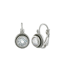 CLASSIC 18kt White Gold Plated Cable Clear CZ Crystal Petite Dainty Earr... - $19.99