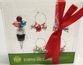 Food Network Wine Stopper and 4 Wine Glass Charm Set Multi Color Ornamen... - $4.99
