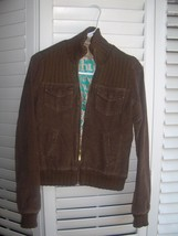 BILLABONG Womens Lined Corduroy Brown BOMBER JACKET COAT - Size Medium M - $16.79