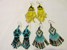 Three Pairs of Colorful Beaded Dangle Pierced Earrings - Native American... - £8.06 GBP