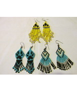 Three Pairs of Colorful Beaded Dangle Pierced Earrings - Native American... - £8.09 GBP