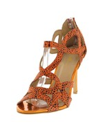 Coral Snake Skin Print Leopard  Open Toe Sandel Shoe with Gold tone High... - $48.46