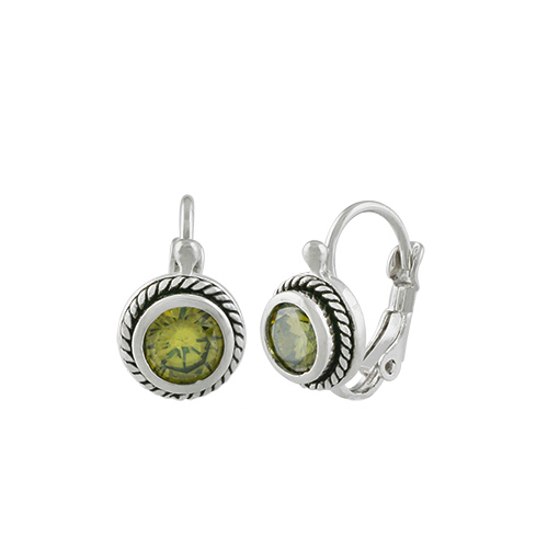CHIC 18kt White Gold Plated Cable Olive Green CZ Crystal Petite Dainty Earrings - £15.19 GBP