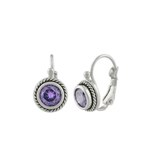 CLASSIC 18kt White Gold Plated Cable Purple Amethyst CZ Crystal Petite Earrings - £15.19 GBP